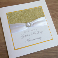 Handmade 50th golden wedding anniversary card, modern, designer