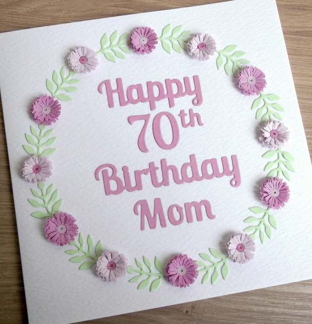 70th birthday card mum personalised with any folksy 70th birthday card mum personalised with any age and name bookmarktalkfo Choice Image