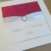 Handmade 18th birthday card, personalised, any age or name