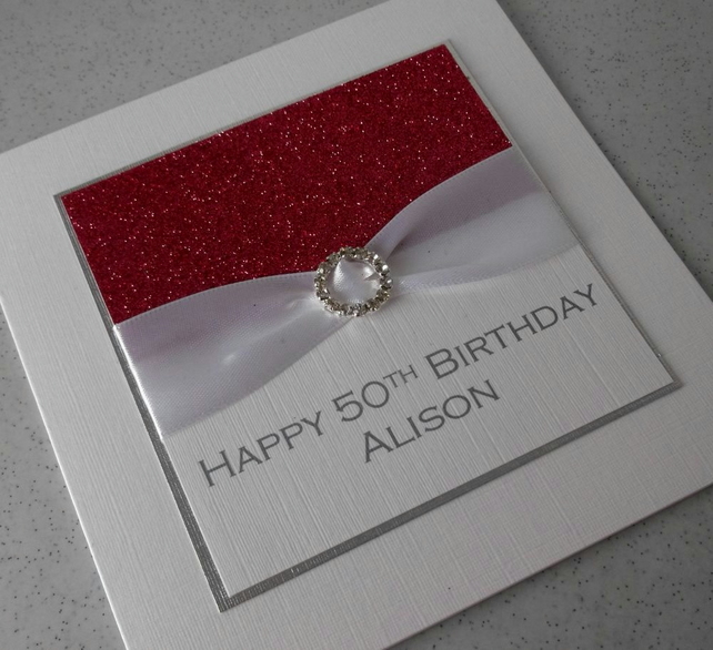 Handmade 50th birthday card, personalised, any age or name