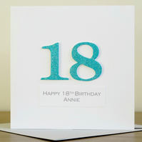 Handmade 18th birthday card - personalised with any age and message
