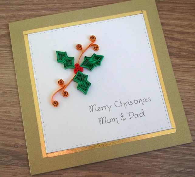 Handmade quilled Christmas card - personalised, mum & dad, any names