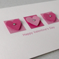 Handmade personalised Valentine card with three hearts