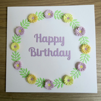 Happy birthday card, paper quilling, can be personalised