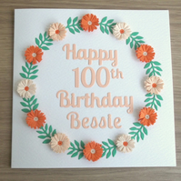 100th birthday card - quilled flowers, quilling, handmade, personalised