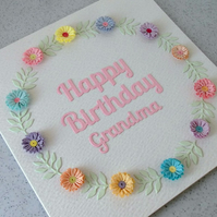 Happy birthday grandma, birthday card - handmade, quilled, paper quilling