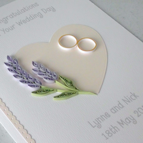 Wedding congratulations card - quilled, lavender, handmade, unique
