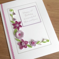 Quilled handmade 75th birthday card, personalised, 50th, 60th, 70th, 80th, 90th