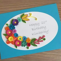 21st birthday card - quilled flowers, quilling, handmade, personalised, any name