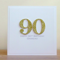 Handmade 90th birthday card - personalised with any age and message