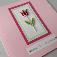 Quilled 50th birthday card, handmade, quilling, can be made for any age