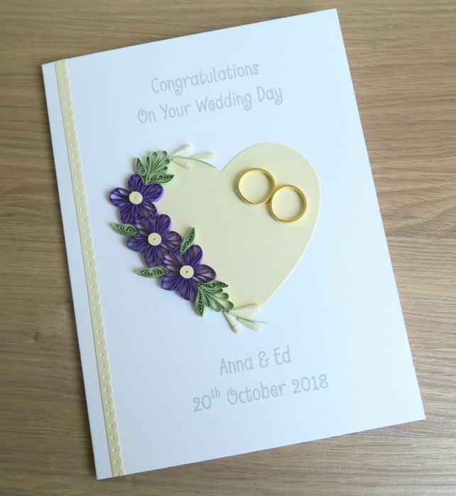 Quilled Handmade Wedding Congratulations Card Personalised