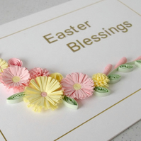 Quilled Easter greeting card, with paper quilling flowers