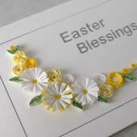 Quilled Easter greeting card, with lemon and white paper quilling flowers