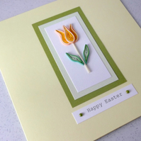 Quilled happy Easter card, handmade, quilling