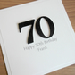 Handmade 70th birthday card - can be personalised with any age and message