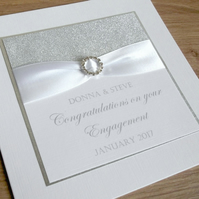Handmade personalised engagement card with names and date