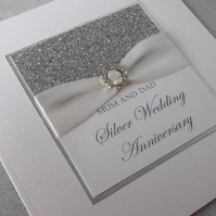 Handmade silver 25th wedding anniversary card, modern, designer