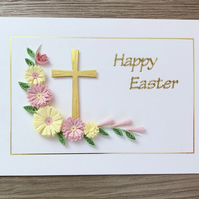Quilled Happy Easter greeting card, with pink lemon quilling flowers