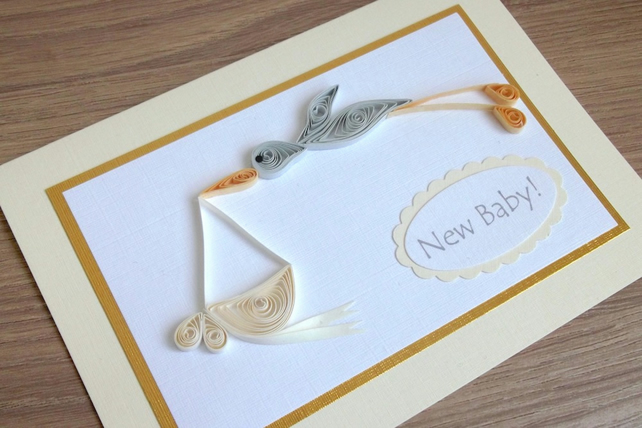 Quilled stork - new baby birth congratulations card
