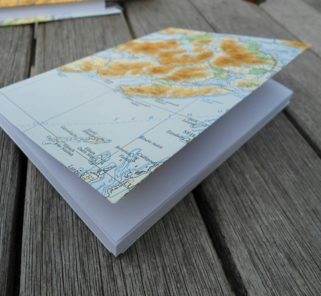 Vintage map covered recycled paper notebook