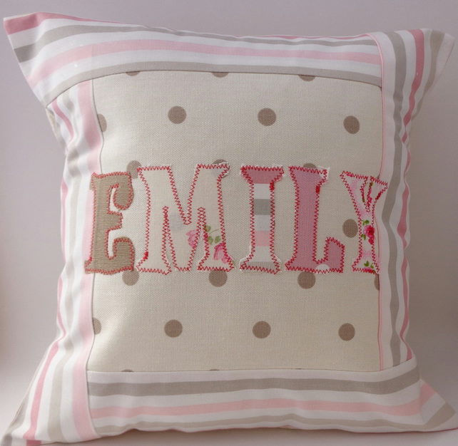 Custom name pink cushion cover (max 8 letters)