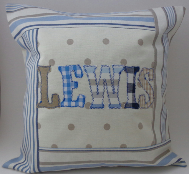 Custom name blue cushion cover (max 8 letters)