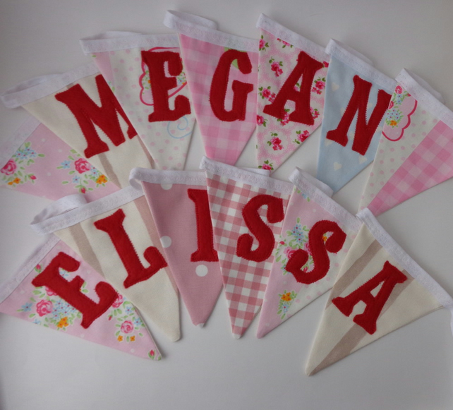 Custom name girl's pink bunting (up to 10 letters)