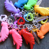 Polly Parrot!! Loaded Kitsch Parrot Charm Bracelet