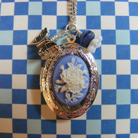 Cameo Rose Locket Charm Necklace