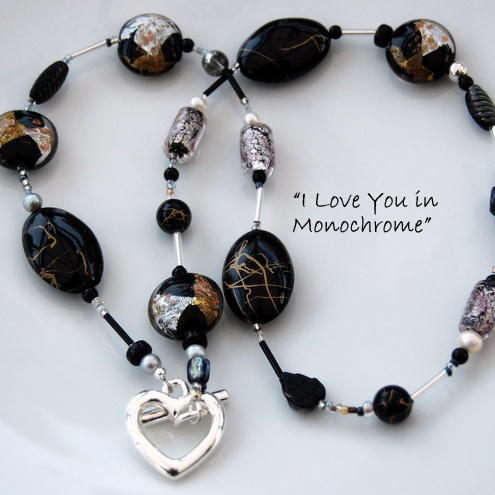 'I Love You in Monochrome' - Murano Glass, Heart Clasp Necklace