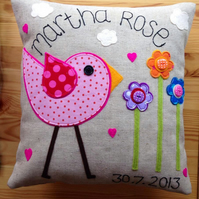 Personalised Pink Funky Bird Cushion