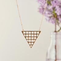 Extra Long Gold Chain Necklace - Long pendant necklace - Triangle pendant