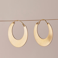 Gold Crescent Moon Tribal Hoop Earrings