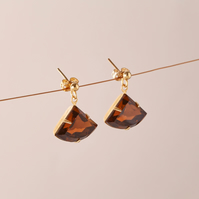 Vintage Crystal Dangling Earrings - Brown Topaz drop earring - Amber earrings