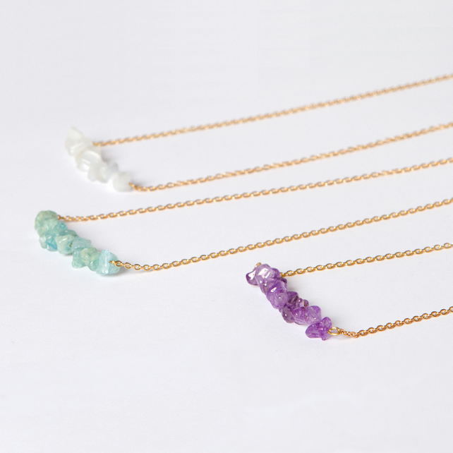 Extra Long Gold Chain Necklace - Gemstone pendant - Amethyst, Jade Green, White