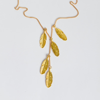 Long Gold Feather Necklace - Long gold Y chain - Long chain with feather charms