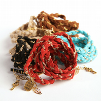 Plaited Headband Wrist Wrap & Lariat - Multi-way Tie - Faux suede & Gold chain