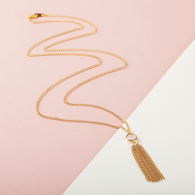 Long Gold Tassel Necklace - Gold Chain Tassel - Long Pendant Necklace