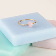 Thin Gold Stacking Ring - Skinny Gold Ring Band - Stackable Ring With Pink Stone