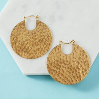 Gold statement earrings - Brass tribal hoop earrings - Round hammered disc