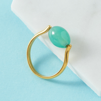 Adjustable gold ring with jade green stone - Statement ring - Cocktail ring