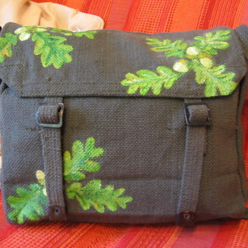 Olive Green satchel with Oak leaf design