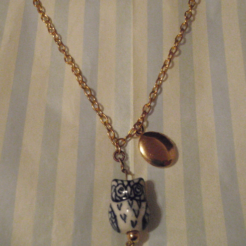 Porcelain owl and golden locket