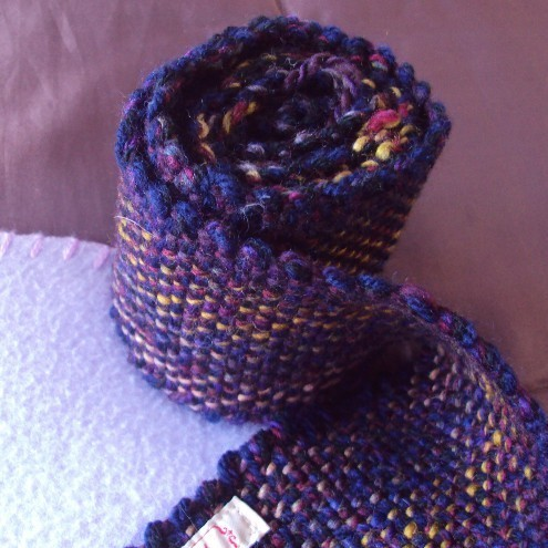Handwoven Scarf, purple and mustard