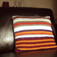 Handknitted Striped cushion