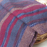 Striped Scarf Hand Woven Purple Red Blue Brown Weaving