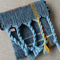 Saori Handwoven Mini Bag, Pouch,Free Weaving, Art, Accessory