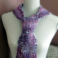 Hand Woven Spring Time  Scarf in Pale Pinks and  Purples