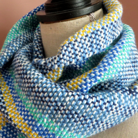 Hand Woven Scarf in Blue, Yellow,Green Fresh Spring Colours, Soft, Wearable